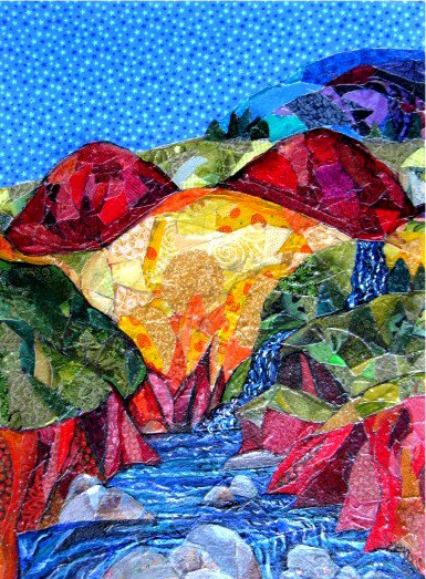 Mystical Landscape Fabric Collage with Acrylic Paint