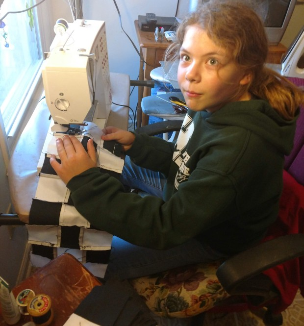 Sewing lesson for Marion