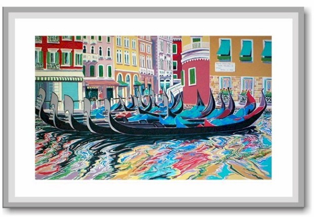 handprinted serigraph of a venetian water scene