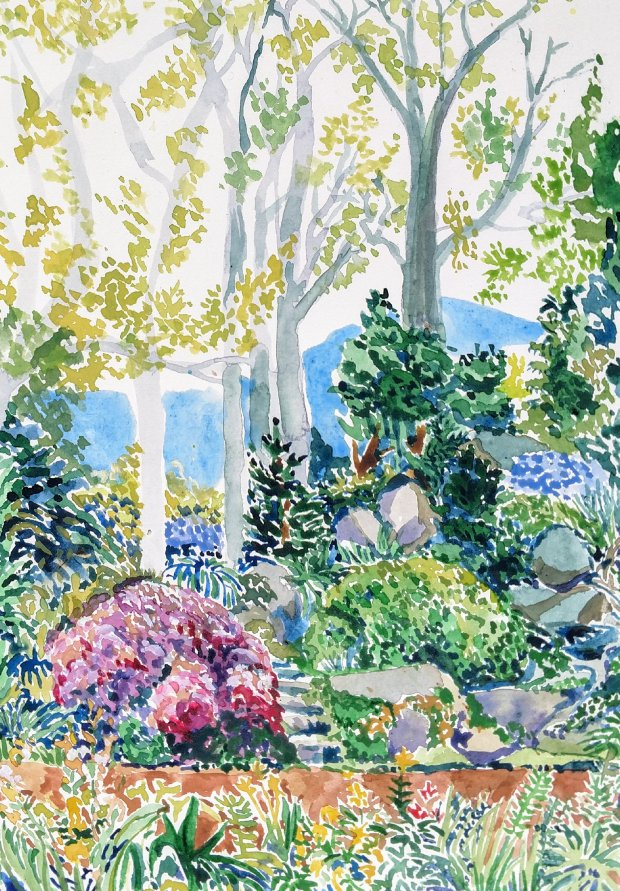 Colorful watercolor of Mountain rocks garden