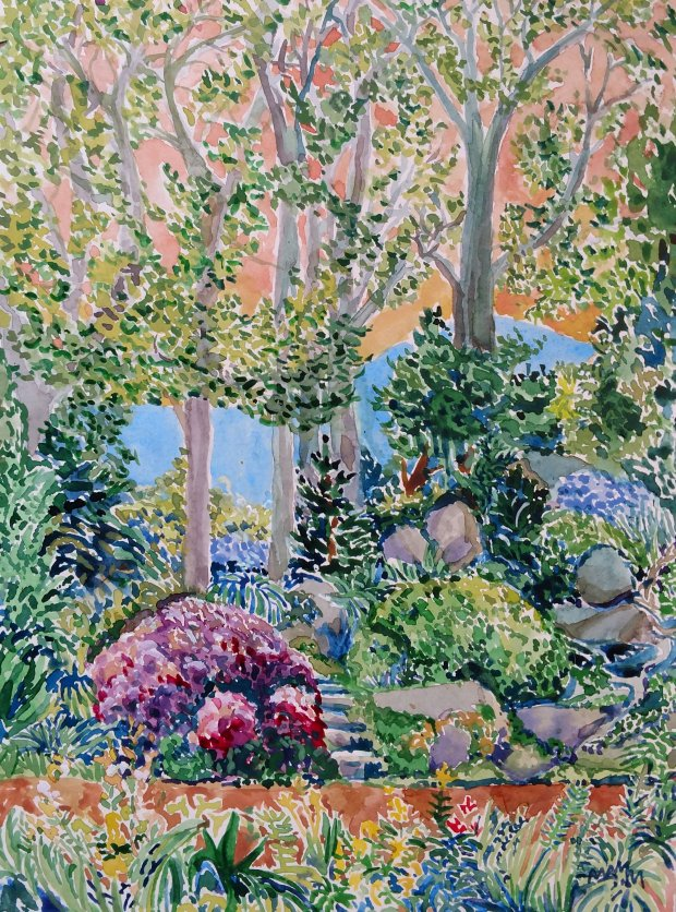 Colorful mountain garden landscape watercolor