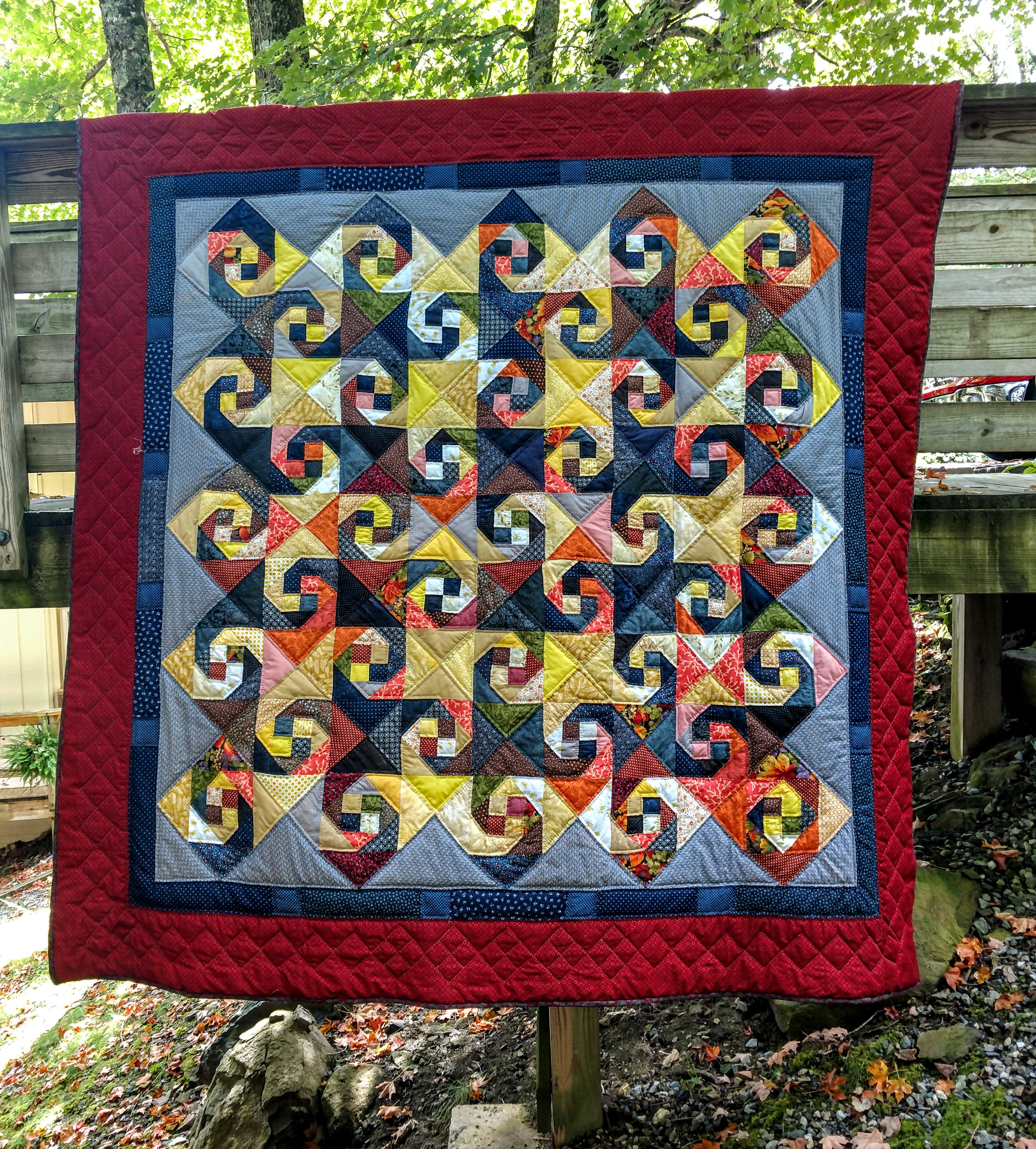 Hand quilted and machine pieced